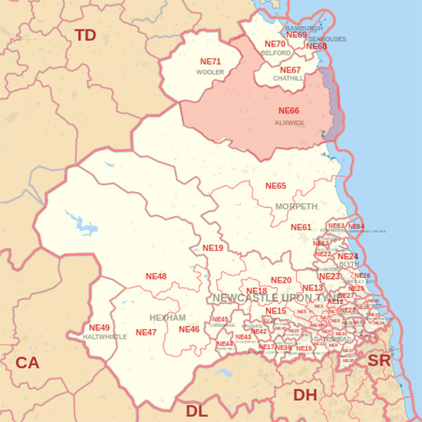 Map showing the NE66 Postcode area Covered By Dunbar skip Hire