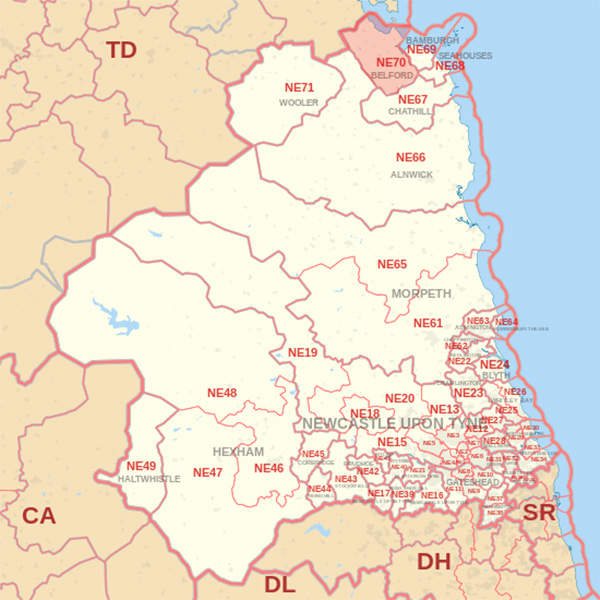 Map showing the NE70 Postcode area Covered By Dunbar skip Hire