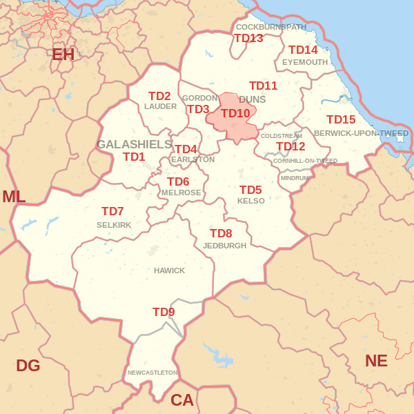 Map showing the TD10 Postcode area Covered By Dunbar skip Hire