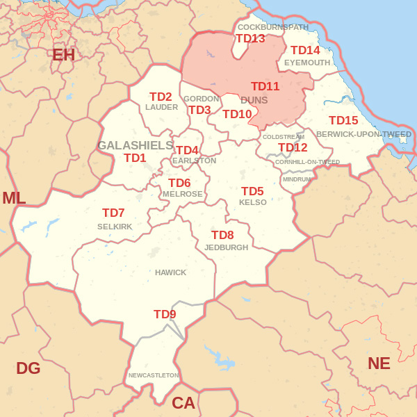 Map showing the TD11 Postcode area Cpvered By Dunbar skip Hire