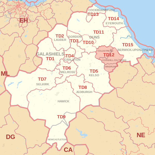 Map showing the TD12 Postcode area Covered By Dunbar skip Hire