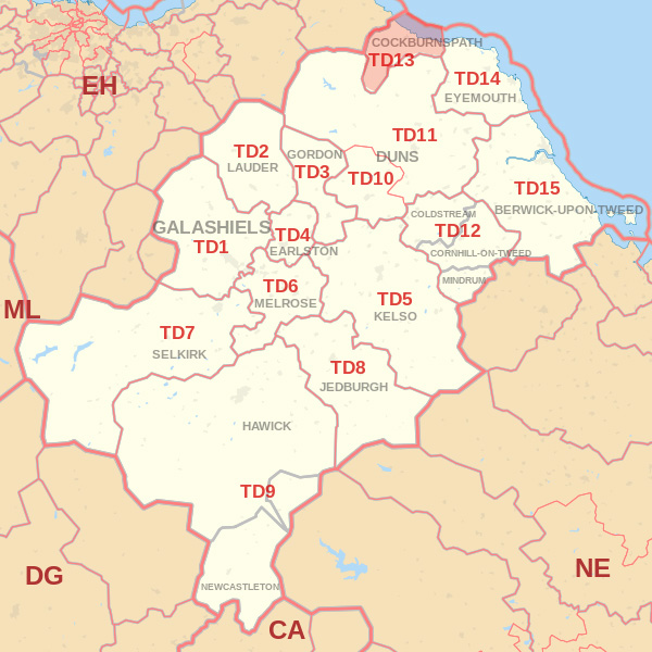 Map showing the TD13 Postcode area Covered By Dunbar skip Hire