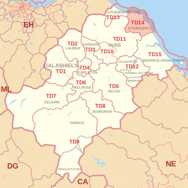 Map showing the TD14 Postcode area Covered By Dunbar skip Hire