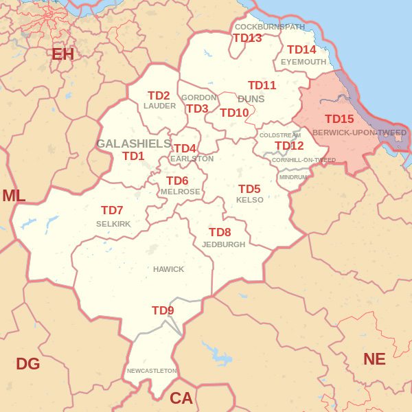 Map showing the TD15 Postcode area Covered By Dunbar skip Hire