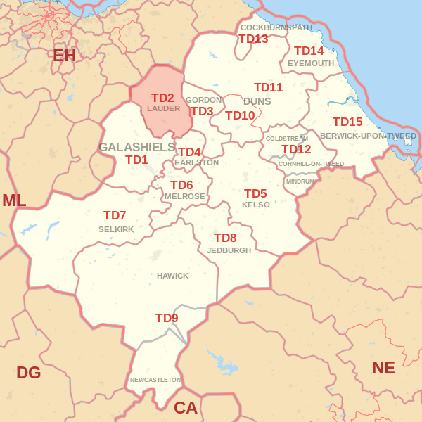 Map showing the TD2 Postcode area Covered By Dunbar skip Hire