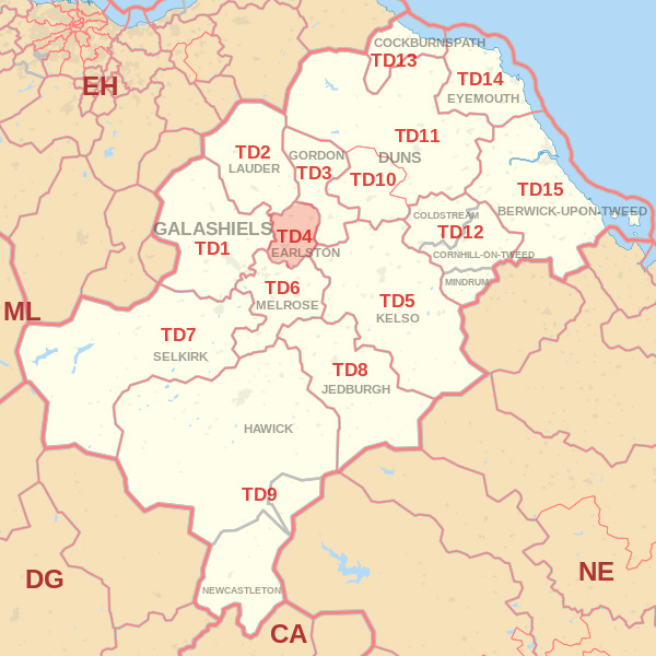 Map showing the TD4 Postcode area Cpvered By Dunbar skip Hire