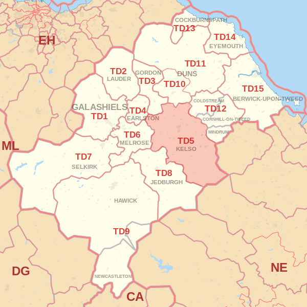 Map showing the TD5 Postcode area Covered By Dunbar skip Hire