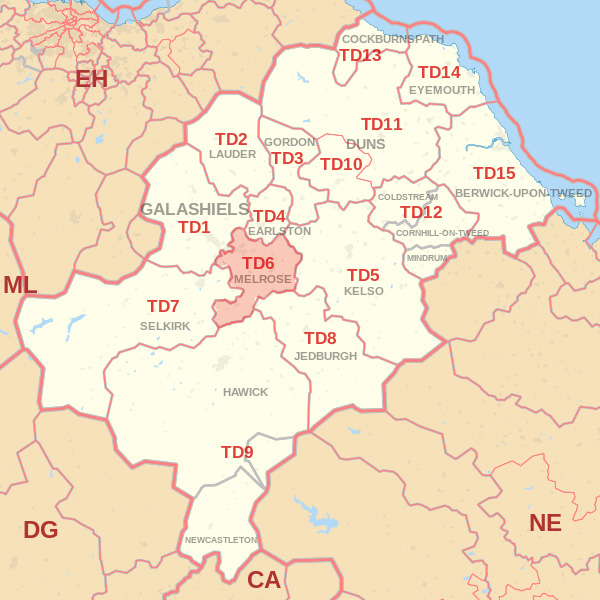 Map showing the TD6 Postcode area Cpvered By Dunbar  skip Hire