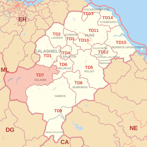Map showing the TD7 Postcode area Covered By Dunbar skip Hire