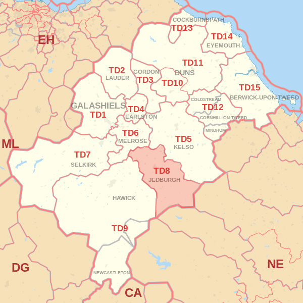 Map showing the TD8 Postcode area Covered By Dunbar skip Hire
