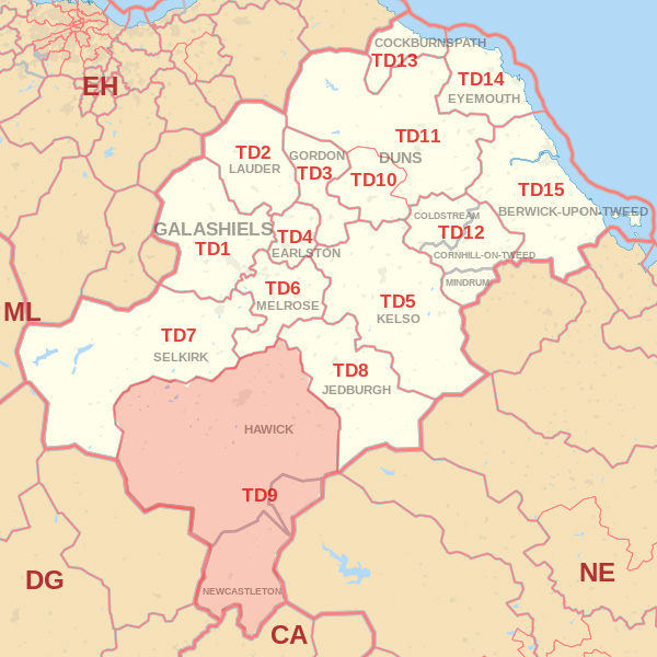 Map showing the TD9 Postcode area Covered By Dunbar skip Hire